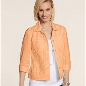 Chico's Jean Jacket 100% Linen Optic Orange 2